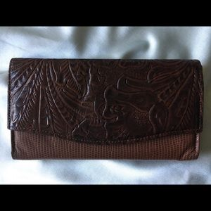 NWOT Amity hand-tooled leather clutch wallet